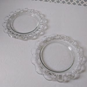 Vintage scalloped edge glass dessert plate set
